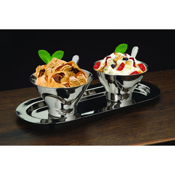Steel Sundae Bowls with Tray