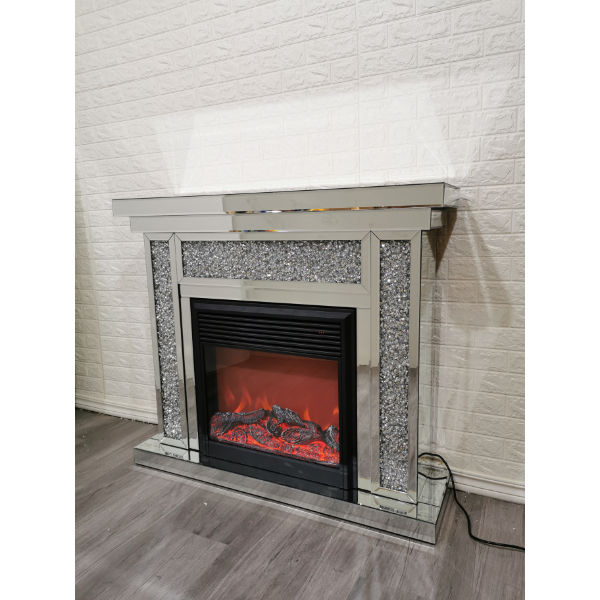 Segmented Diamond Crush Fireplace