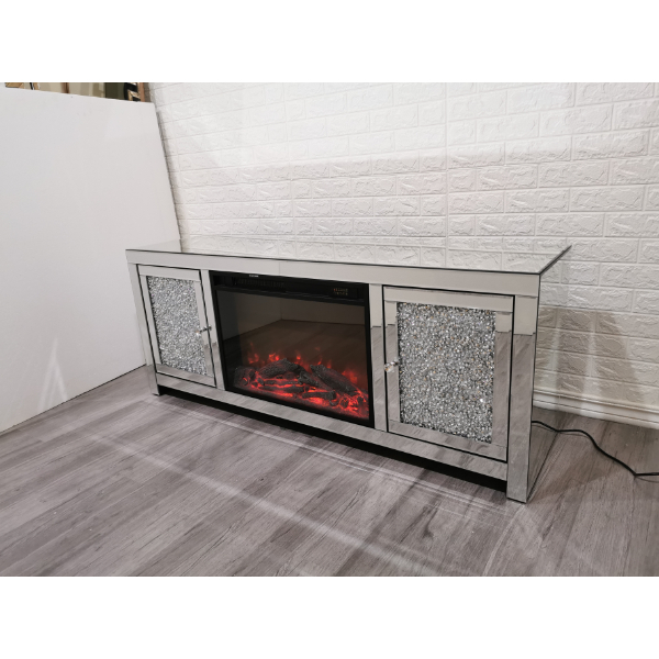 Diamond Crush TV Stand with Fireplace