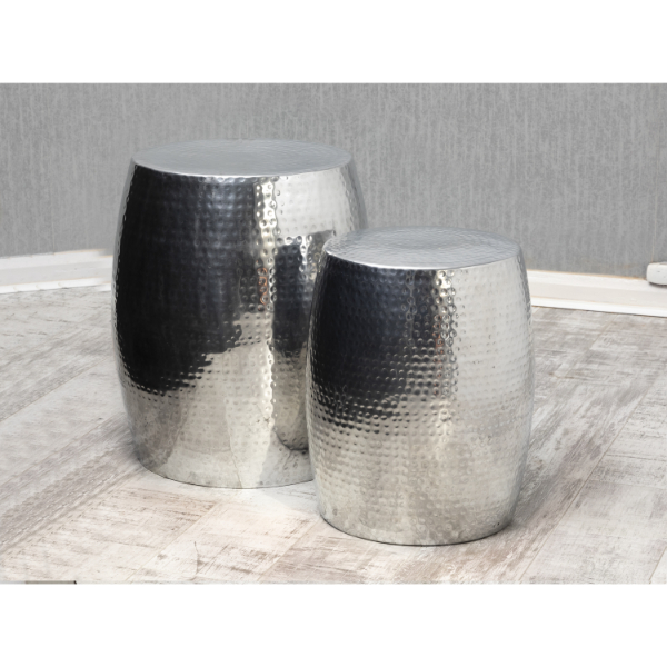 Garvey Silver Tall Drum Table Duo