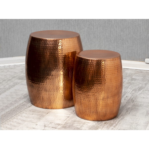 Garvey Copper Tall Drum Table Duo