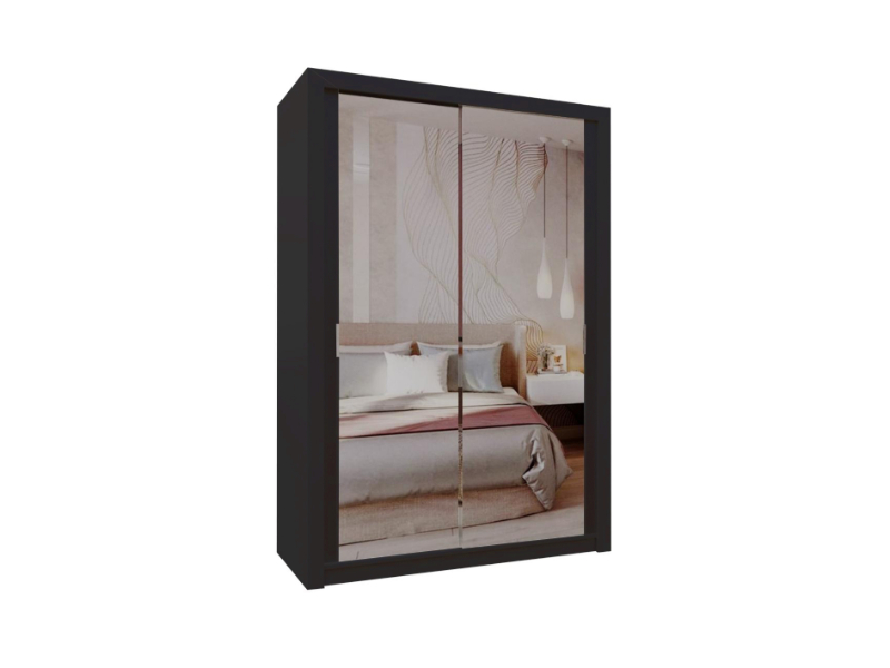 Burket Black 150cm Sliding Door Wardrobe