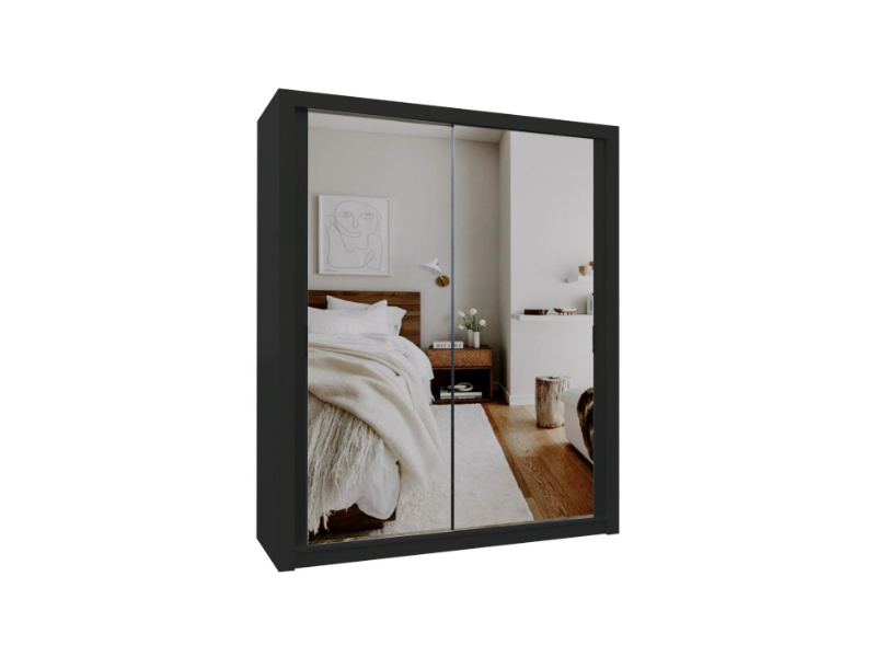 Burket Black 180cm Sliding Door Wardrobe