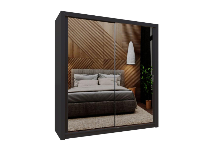 Burket Black 203cm Sliding Door Wardrobe