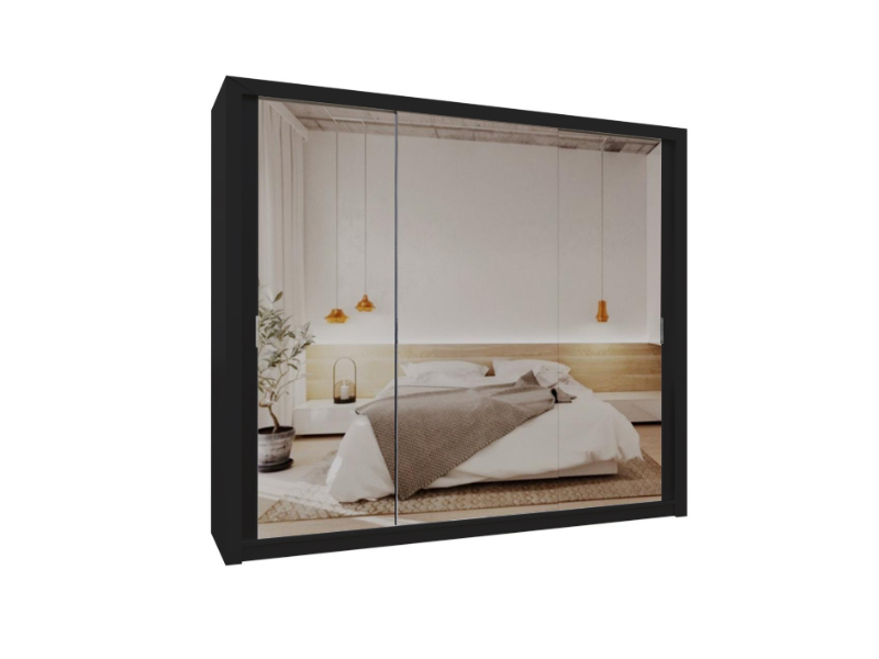 Burket Black 250cm Sliding Door Wardrobe