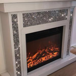 Segmented Diamond Crush White Mirrored Fireplace