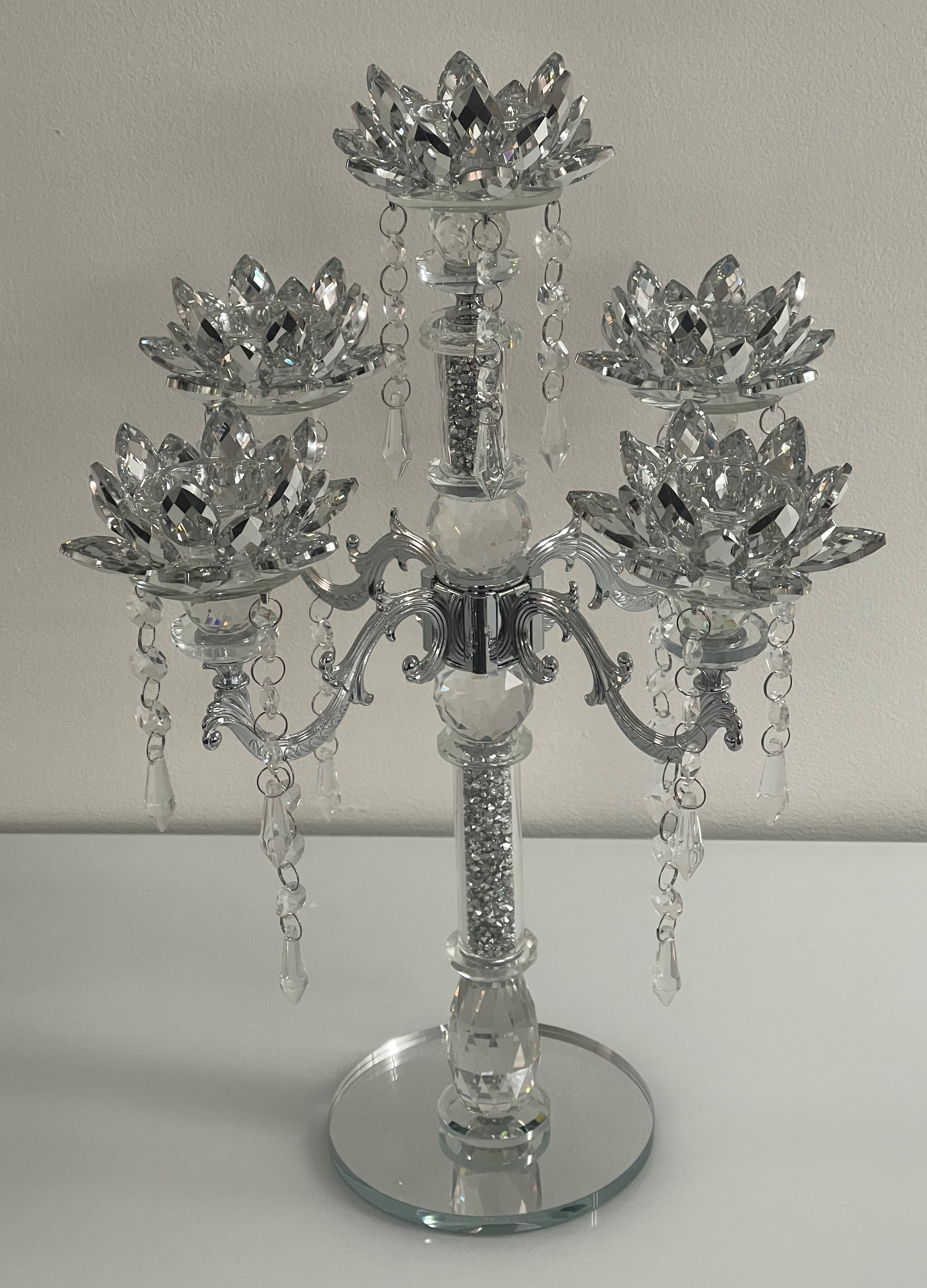 Crystal Flower 5 Arm Diamond Crush Candelabra with Hanging Crystals