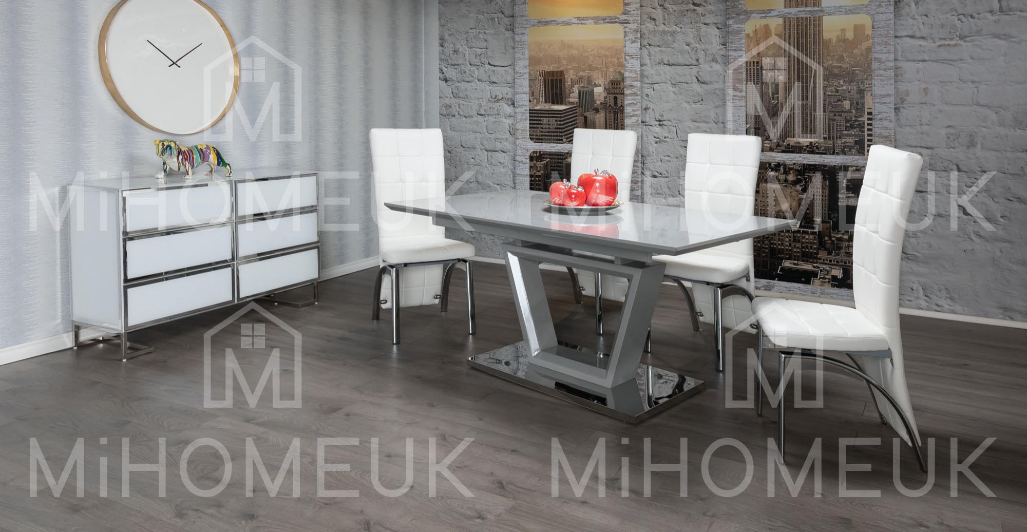 Mateo Grey High Gloss Extending Dining Table Sets